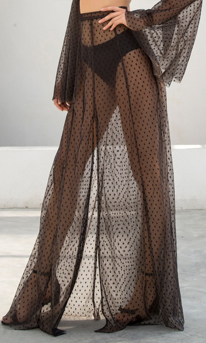 Speak The Truth Black Sheer Mesh Swiss Dot Front Slit Casual Maxi Skirt Two Piece Set