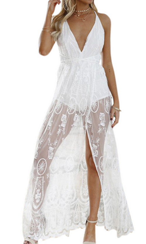 My Good Side Sheer Mesh Lace Casual Sleeveless Spaghetti Strap V Neck Backless High Slit Maxi Dress - 2 Colors Available