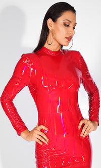 Totally Toxic Red Iridescent Patent PU Faux Leather Long Sleeve Mock Bodycon Mini Dress - Sold Out