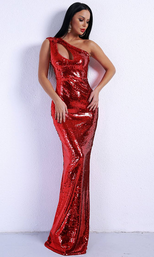 Private Event Red Sequin One Shoulder Cut Out Maxi Dress Evening Gown