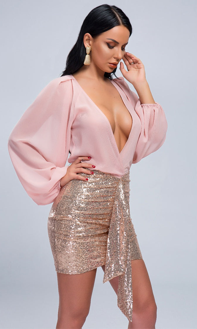 Hollywood Thriller Rose Gold Sequin Long Lantern Sleeve Cross Wrap V Neck Bodycon Mini Skirt Two Piece Dress