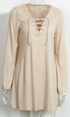 Mixed Messages Beige Long Bell Sleeve Lace Up V Neck Sweater Mini Dress