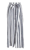 Hey Mama Stripe Pattern High Waist Tie Belt Split Wide Leg Loose Trouser Pants - 4 Colors Available