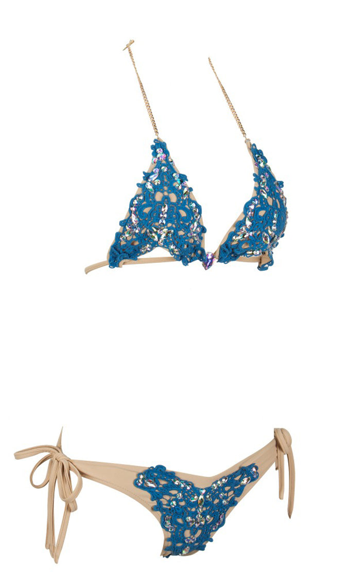 Such A Doll Blue Lace Nude Gold Bling Rhinestone Crystal Silver Beaded Gemstone Spaghetti Strap Halter Triangle Cut Out Top Two Piece Brazilian Swimsuit Set