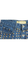 Medium Blue Gold Pyramid Stud Frayed Destructed Denim Shorts - Sold Out