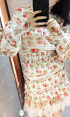 Hot Off The Press Pink Green Red White Floral Pattern Long Lantern Sleeve Mock Neck Crop Top Lace Two Piece Casual Mini Dress - Sold Out