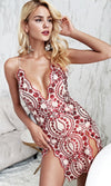 Saturday Night Showstopper Sequin Floral Pattern Sleeveless Spaghetti Strap Plunge V Neck Double Slit Bodycon Mini Dress - Sold Out