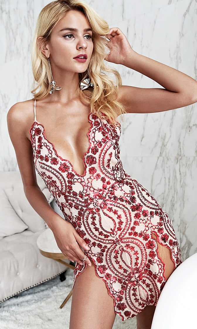 Saturday Night Showstopper Sequin Floral Pattern Sleeveless Spaghetti Strap Plunge V Neck Double Slit Bodycon Mini Dress - 4 Colors Available