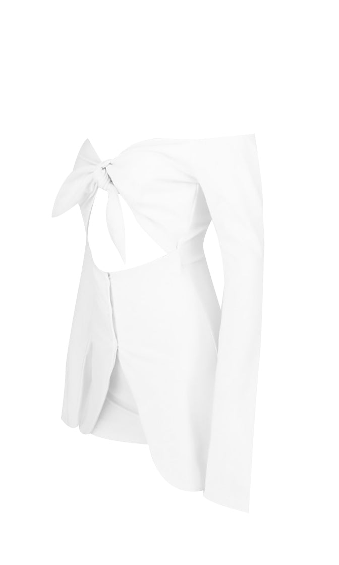 Like A Champ White Long Sleeve Off The Shoulder Tie Front V Neck Cut Out Waist Split Front Button Playsuit Romper