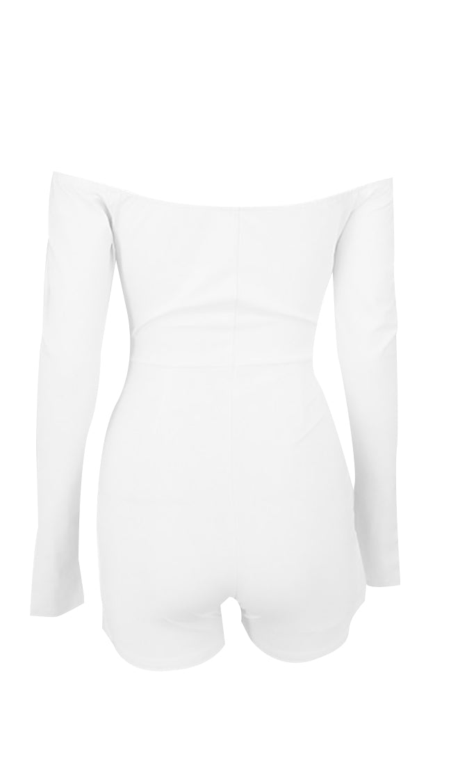 Like A Champ White Long Sleeve Off The Shoulder Tie Front V Neck Cut Out Waist Split Front Button Playsuit Romper - Sold Out