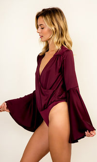 Merlot Madness Wine Red Satin Long Bell Sleeve Cross Wrap V Neck Bodysuit Top - Sold Out