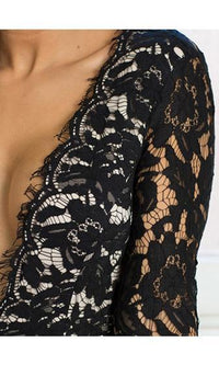 Midnight Magic Black Eyelash Lace Long Bell Sleeve Plunge V Open Back Thigh Slit Maxi Dress - Sold Out