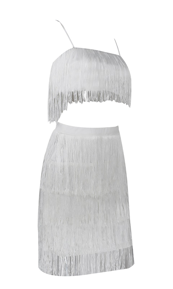 Shot Caller Sleeveless Spaghetti Strap Fringe Crop Top Bodycon Two Piece Mini Dress - 3 Colors Available