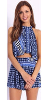 Youthful Spirit Navy Light Blue White Geometric Sleeveless Loose Crop Halter Tank Top Shorts Two Piece Romper -  Sold Out