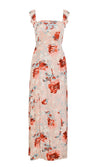 Fantasy Girl Pink Floral Pattern Ruffle Sleeve Off The Shoulder Square Neck Side Slit Casual Maxi Dress