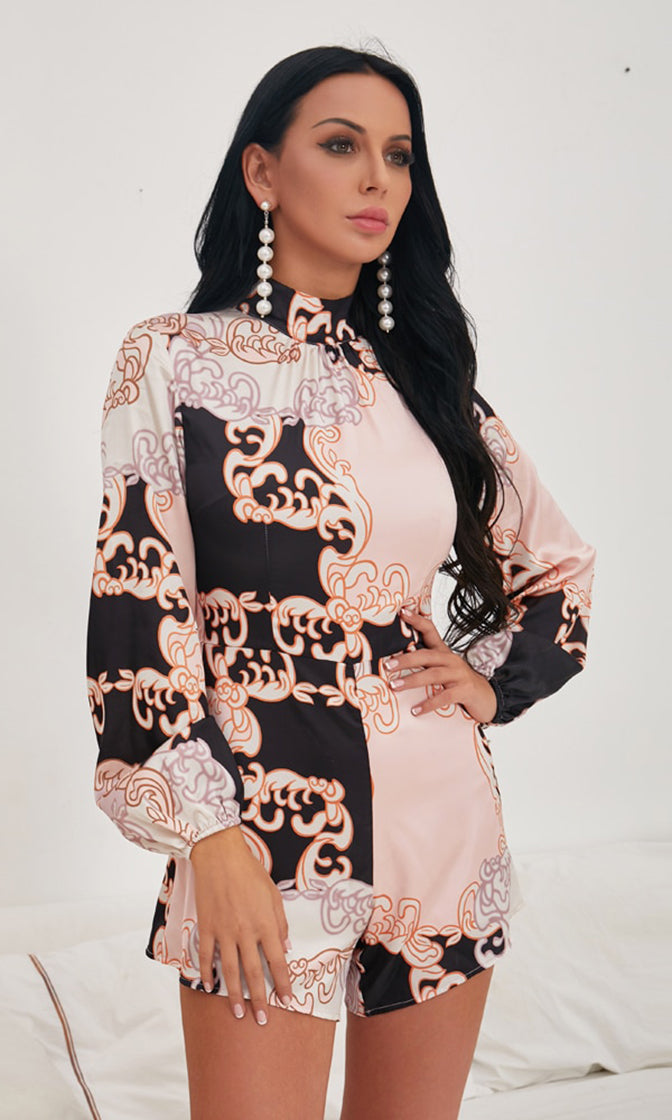 Bougie Babe Pink Black Swirl Pattern Long Lantern Sleeve Mock Neck Romper Playsuit