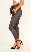 Urban Prep Grey Plaid Pattern Paperbag High Waist Belted Skinny Pants - Sold Out
