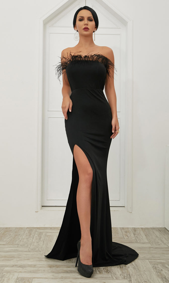 Don't Go Black Strapless Feather Tassel High Slit Bodycon Maxi Dress