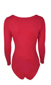Nowhere To Run Red Long Sleeve V Neck Bodysuit Top - 7 Colors Available