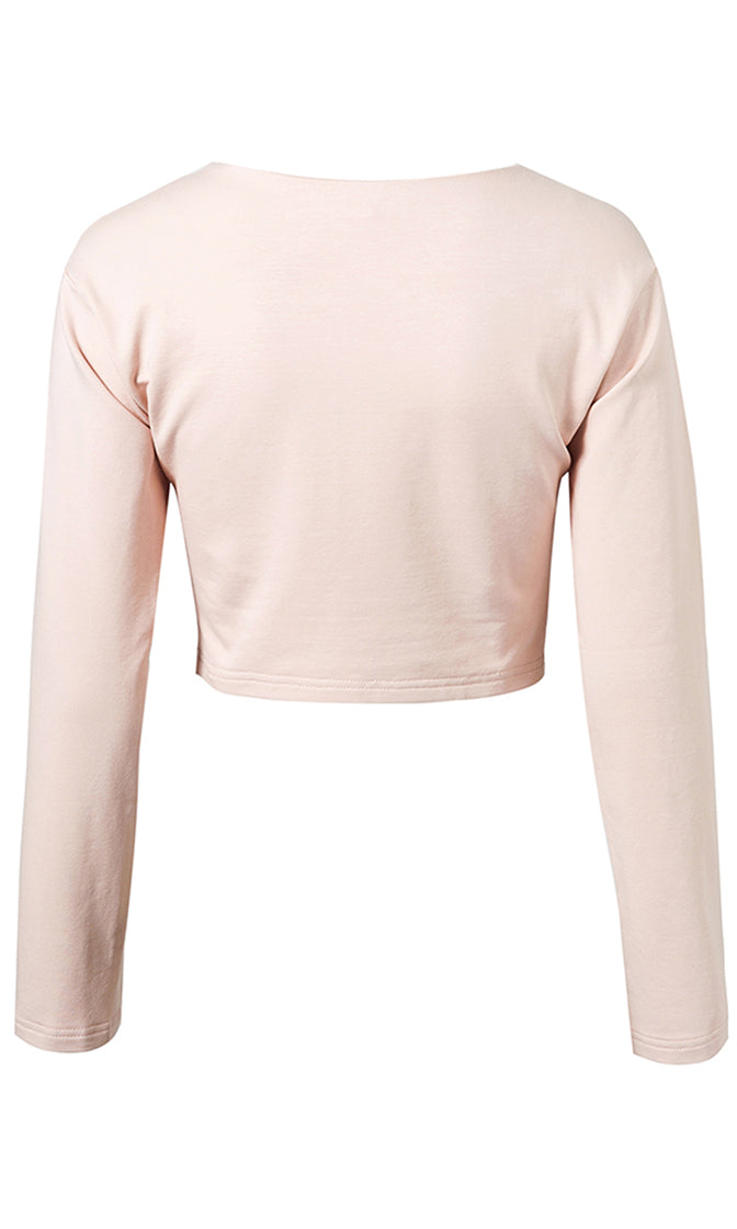 Perpetual Player Long Sleeve Lace Up Grommet Pullover Crop Sweatshirt - 2 Colors Available