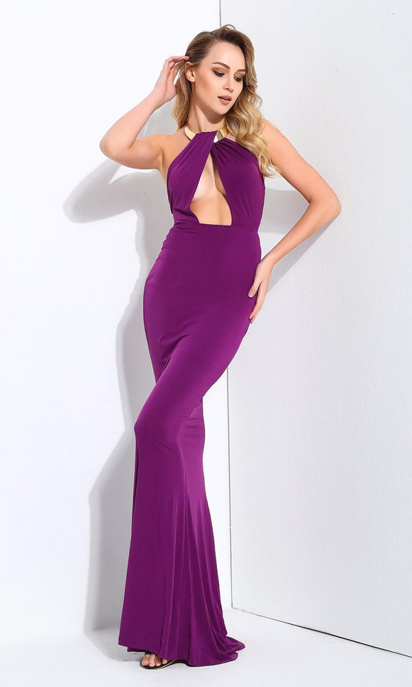 Sealed With A Kiss Purple Metal Necklace Halter Neck Cut Out Maxi Dress Evening Gown