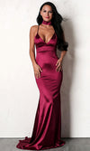 After You White Sleeveless Spaghetti Strap Drape V Neck Side Slit Midi Dress - 3 Colors Available