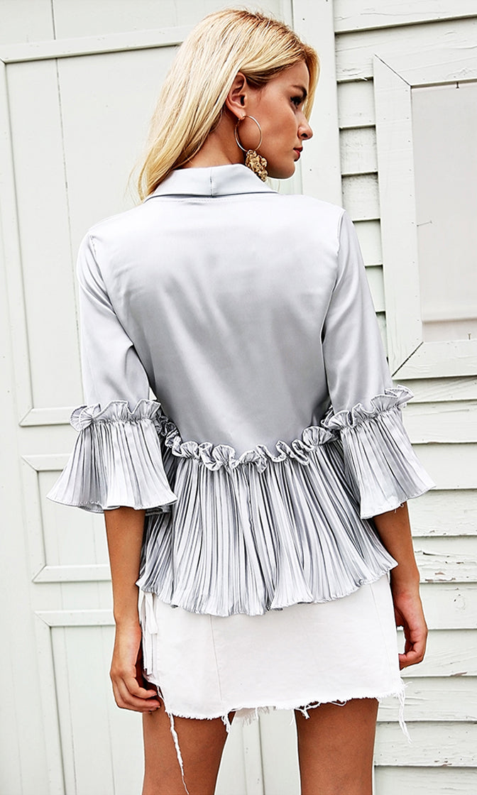 Sugar And Spice Satin 3/4 Sleeve Cross Wrap V Neck Ruffle Pleat Peplum Blouse Top - 5 Colors Available