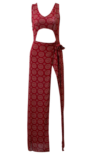 No Roots Dark Red Geometric Pattern Casual Sleeveless V Neck Cut Out Waist Wrap Maxi Dress