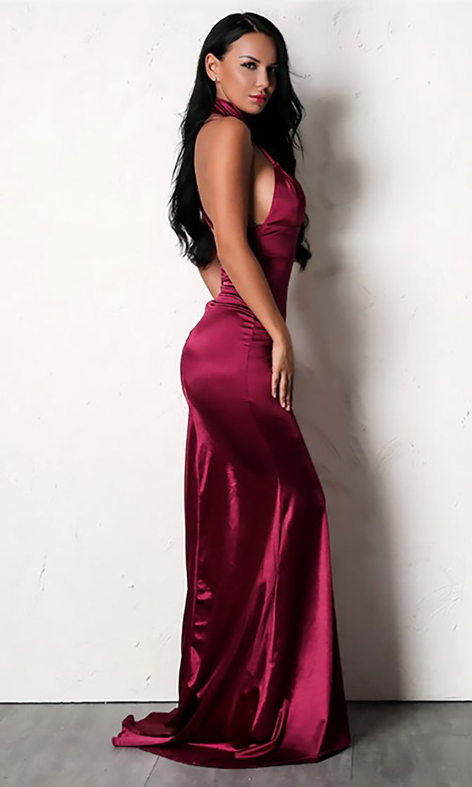 Oh So Glamorous Burgundy Sleeveless Spaghetti Strap Satin Plunge V Neck Backless Mermaid Maxi Dress
