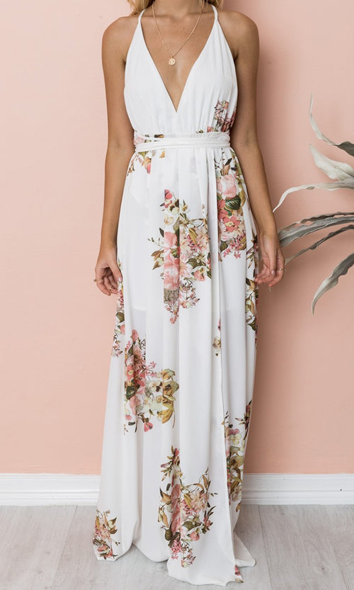 Summer House Floral Pattern Sleeveless Spaghetti Strap V Neck Backless High Slit Casual Maxi Dress - 2 Colors Available