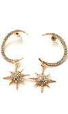 Seven Wonders Gold Moon and Stars Rhinestone Dangle Earrings - Sold Out