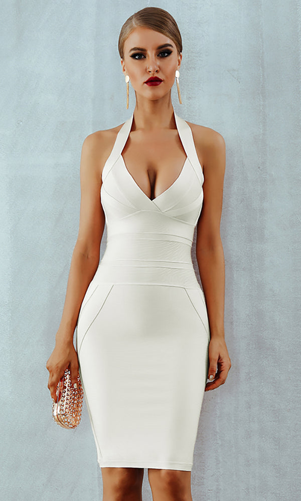There's No Way White Sleeveless Halter V Neck Bodycon Bandage Midi Dress