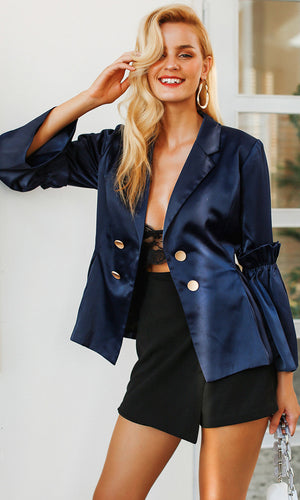 In The Navy Satin Dark Blue Long Flare Sleeve Double Button Ruffle Blazer Jacket Outerwear