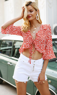 My Decision Floral Dot Pattern 3/4 Sleeve Ruffle V Neck Tie Front Crop Top Blouse - 4 Colors Available - Sold Out