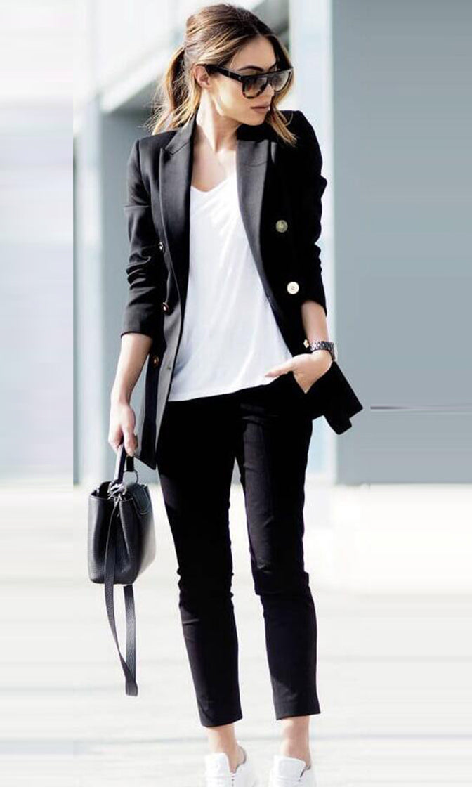 Downtown Chic Black Long Sleeve Button Blazer Jacket Outerwear