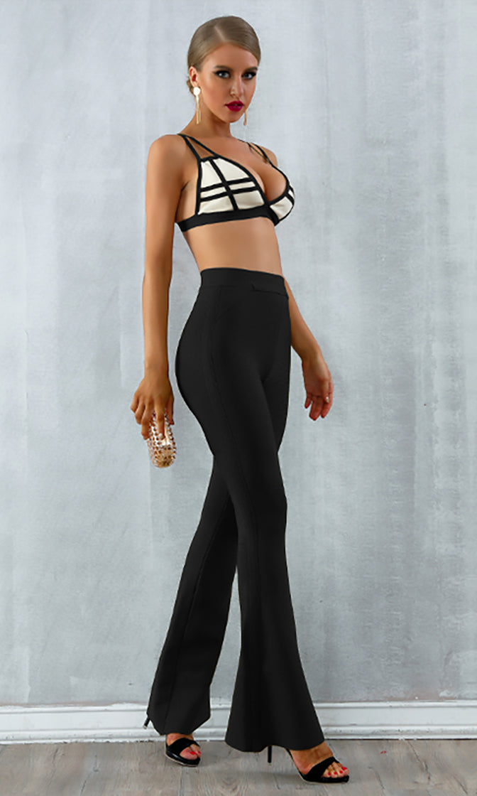 Ignite A Flame Sleeveless Stripe Pattern Crop Top Bandage Flare Leg Pant Two Piece Jumpsuit - 2 Colors Available
