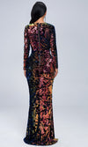 Power Surge Black Geometric Sequin Long Sleeve Plunge V Neck Cut Out Side Front Slit Maxi Dress