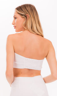 Hamptons Affair White Strapless Sweetheart Tie  Front Smocked Crop Top - Sold Out