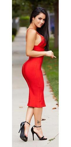 Will You Be Mine Red Spaghetti Strap V Neck Bandage Bodycon Midi Dress - Sold Out
