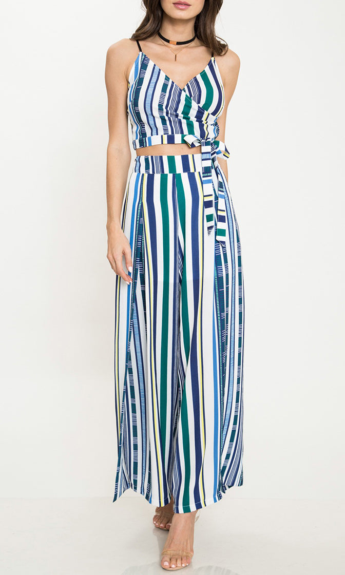 Torn Apart Blue Vertical Stripe Pattern Sleeveless Spaghetti Strap Cross Wrap V Neck Crop Top Wide Leg Slit Two Piece Jumpsuit Set - Sold Out
