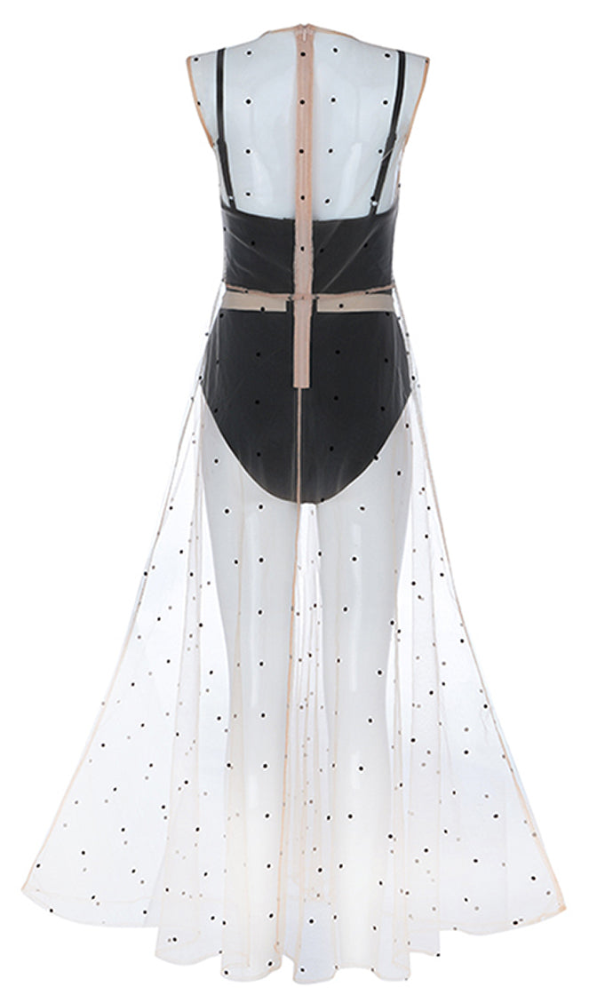 Mood Maker Beige Black Polka Dot Pattern Sleeveless Bandage Sheer Mesh Overlay Maxi Dress