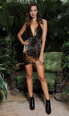 Final Score Brown Black Velvet Tiger Print Animal Pattern Sleeveless Spaghetti Strap Backless Halter Plunge V Neck Ruched Bodycon Mini Dress - Sold Out