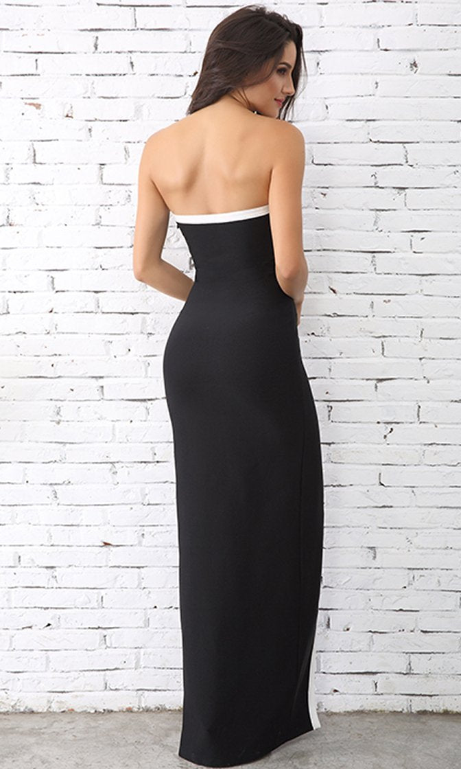 88be969eb0 Rise To The Occasion Black White Trim Strapless V Neck Front Slit Maxi Dress