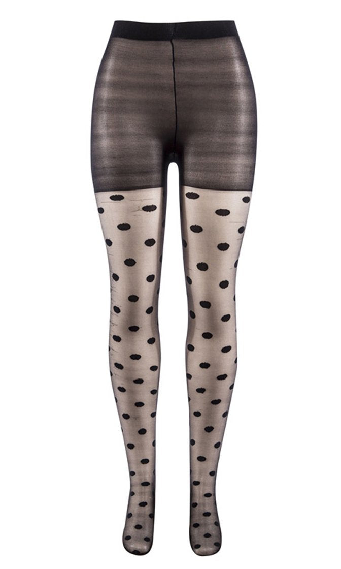 Dotted Line Sheer Black Polka Dot Pattern Stockings Tights