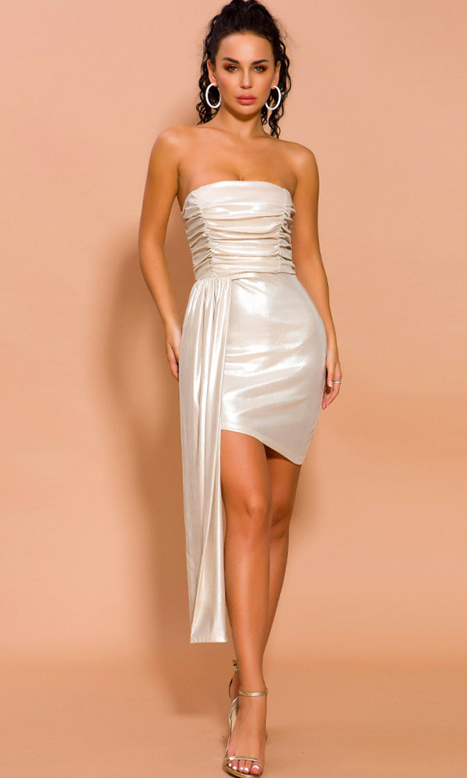 After Glow Beige Metallic Strapless Ruched Asymmetric Drape Bodycon Mini Dress