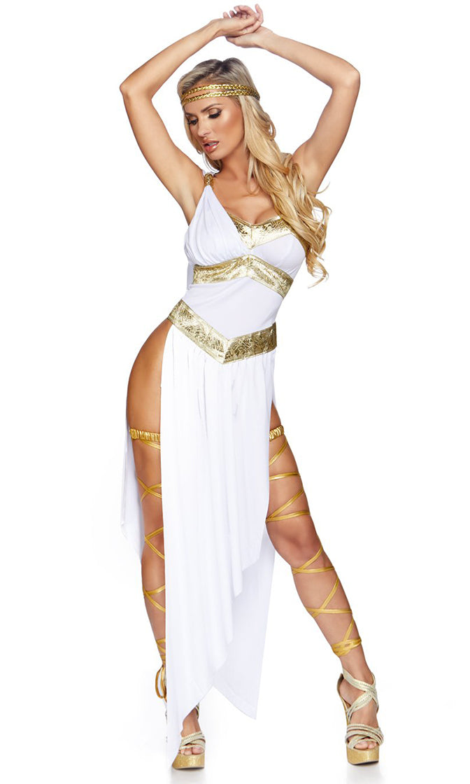 Toga Party White Gold Sleeveless V Neck Catsuit High Side Slit Maxi Dress Halloween Costume