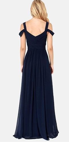 Once Upon a Time Navy Blue Sleeveless Off The Shoulder V Neck Long Side Slit Maxi Dress Evening Gown - Sold Out