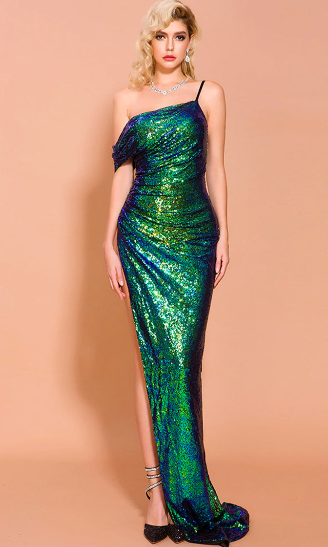 My Own Rules Green Blue Sequin Sleeveless Spaghetti Strap Draped Short Sleeve Asymmetric Side Slit Max Dress