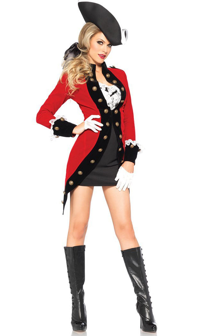 British Invasion Red Black Ruffle Bodycon Mini Dress Ruffle Lace Jacket Set Halloween Costume