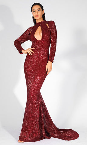 Straight To The Heart Red Long Sleeve Off The Shoulder Sweetheart Neckline Cut Out Waist Double Slit Maxi Dress